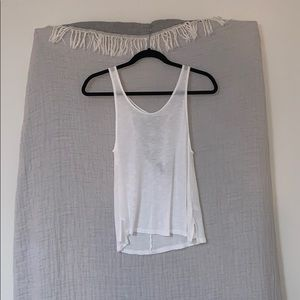 Semi see-through white loose tank top
